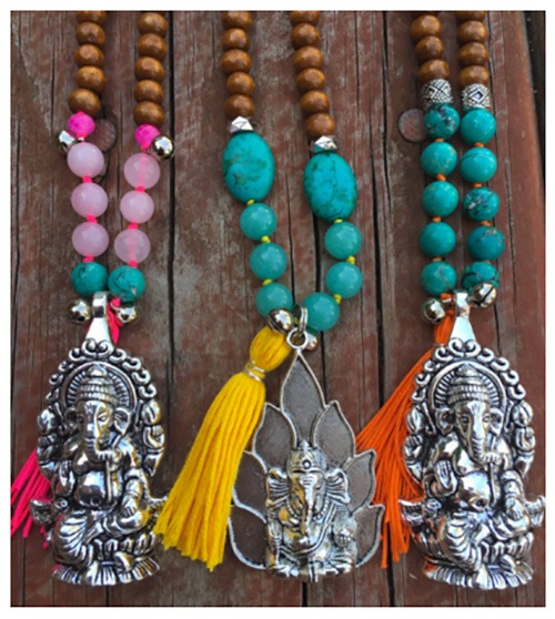 Turquoise-&-Rose-Quartz-Ganesha-Mala-with-Pink-Tassel
