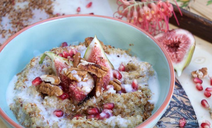 Coconut Cream Quinoa Breakfast Bowl With Fig, Pomegranate & Pecans (Recipe)