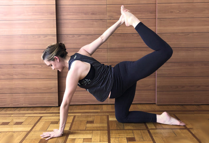 """Ground Bow Modified """"width ="""" 620 """"peak ="""" 425 """"class ="""" aligncenter size-large wp-image-93749 """"/> </p> <p> Prenatal Yoga Modification: One-Legged Bow Pose </p> <p> Bow Pose is a deeper chest opener and backbend than Upward Dealing with Canine, however is offered throughout your prenatal apply if you're already conversant in this pose. </p> <p> Nonetheless, we wish to keep away from placing deep stress on the stomach once more, so the easiest way to realize this pose is thru a modified Bow Pose, practiced on all fours. </p> <p> Let's Attempt It: </p> <p>Begin in Desk High place with comparable alignment to Cow Pose<br /> Guarantee you may have a secure base by shifting the load from palms to knees, and left to proper, spreading fingertips broad to create extra stability<br /> On an inhale, bend your left knee, as if stamping the underside of the left foot into the ceiling<br /> Along with your reverse hand (to supply extra stability), seize the toes, foot, heel or ankle (relying on what's accessible) and kick the heel away out of your seat<br /> Keep right here for Three-5 breaths, exploring area as you breathe, after which revisit on the alternative facet to open either side of the physique</p> <p class="""