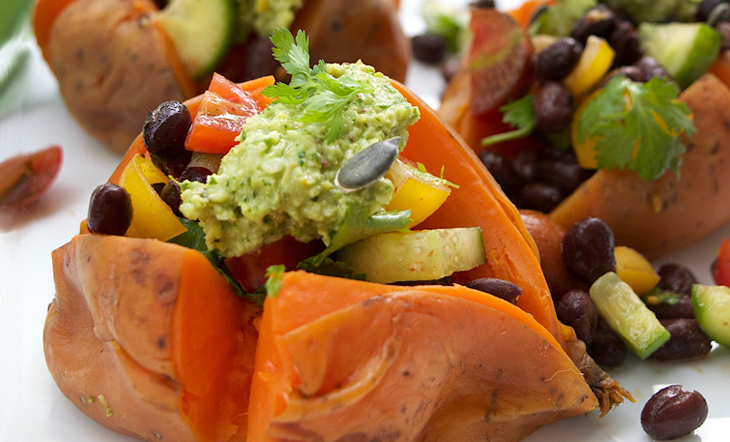 Black Bean Salsa-Stuffed Sweet Potato Recipe (You Can Start Drooling Now)